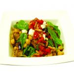 Eggplant, Chickpea and Tomato Salad with Pomegranate and Pine-nut Relish